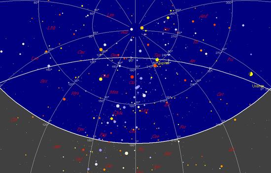 Il cielo alle 0 UTC del 21 dicembre 2012